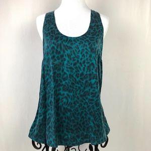 Joie 100% Silk Cheetah Print Teal Black Tank Top
